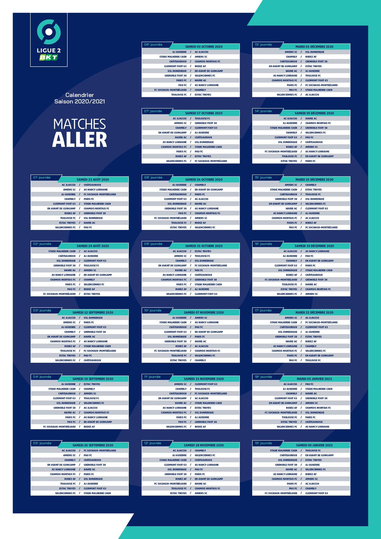 Calendrier L2 2021 Ligue 2 : le calendrier 2020 2021 journée par journée   Grenoble