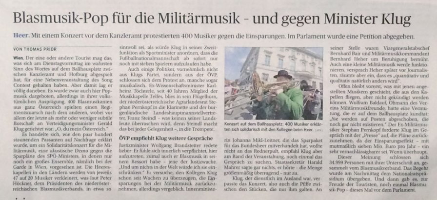 """Artikel aus """"Die Presse"""" 20. Mai 2015"""