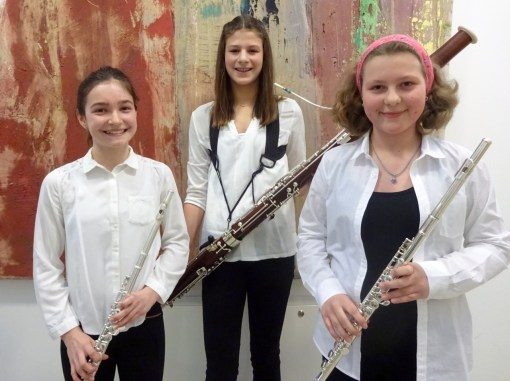"Holzbläsertrio ""A tre"": (v.l.) Marlene Ziegler, Sophie Bauer, Lisa Rockenbauer"
