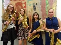 "Saxofon-Quartett ""Just4Sax"": (v.l.) Lisa Frank, Juliana Frey (Obermarkersdorf), Sabrina Spitaler, Anja Schiner"