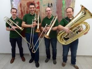 """Blechbläser-Quartett """"Heavy Brass"""": (v.l.) Roman Schöbinger, Martin Schiner, Johann Pausackerl, Reinhold Pausackerl"""
