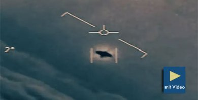 Standbild-Ausschnitt aus einem vom US-Verteidigungsministerium veröffentlichten UFO-Video der Bordkamera eines Navy-Kampfjets. Copyright/Quelle: DoD (USA), ToTheStarsAcademy / New York Times
