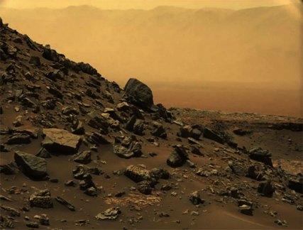 Blick auf die Marsoberfläche. Copyright: NASA/JPL-Caltech/MSSS