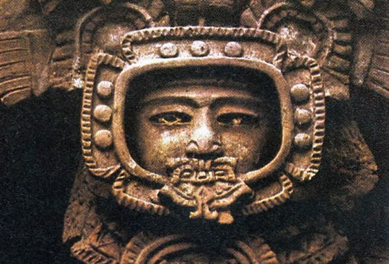 This ancient stone figure, found at the Mayan ruins in Tikal, Guatemala, resembles a modern-day astronaut in a space helme.jpg