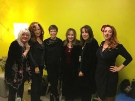 dressing room, UK Americana Awards L to R Kimmie Rhodes, Bonnie Raitt, Emily Barker, Gretchen, Beth Neilson Chapman, Jolie Goodnight