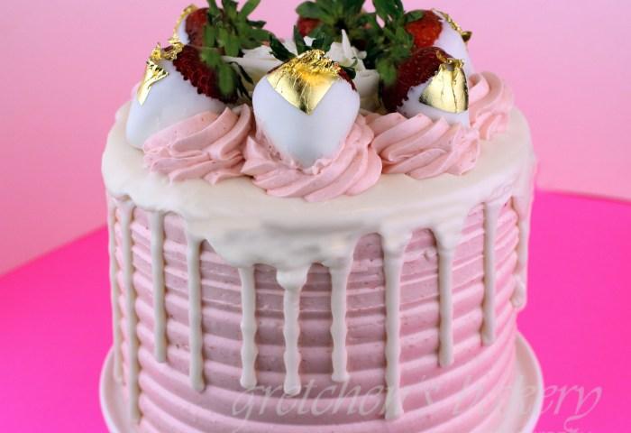 White Chocolate Strawberry Cake Gretchens Vegan Bakery