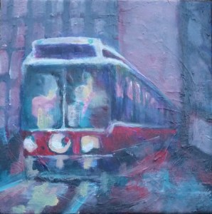 """Another new little streetcar painting, 12"""" x 12"""""""