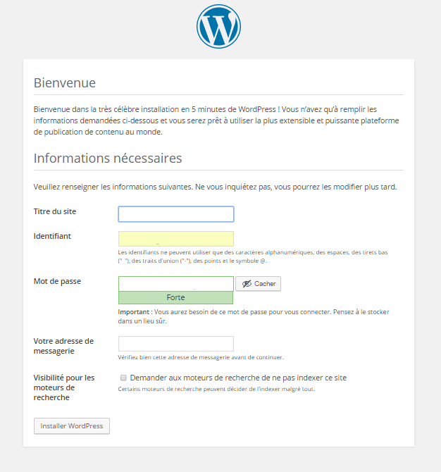 installation wp