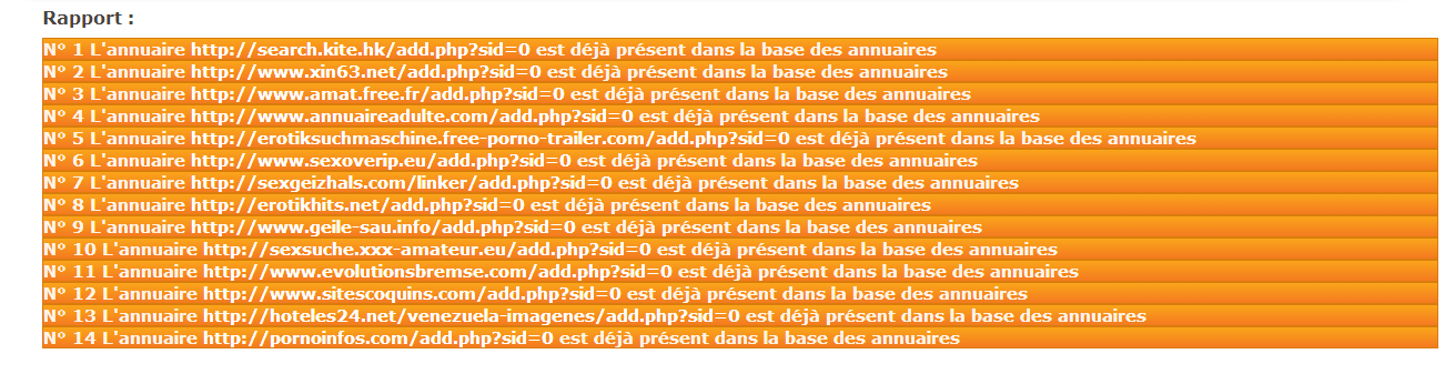 rapport import d'annuaires