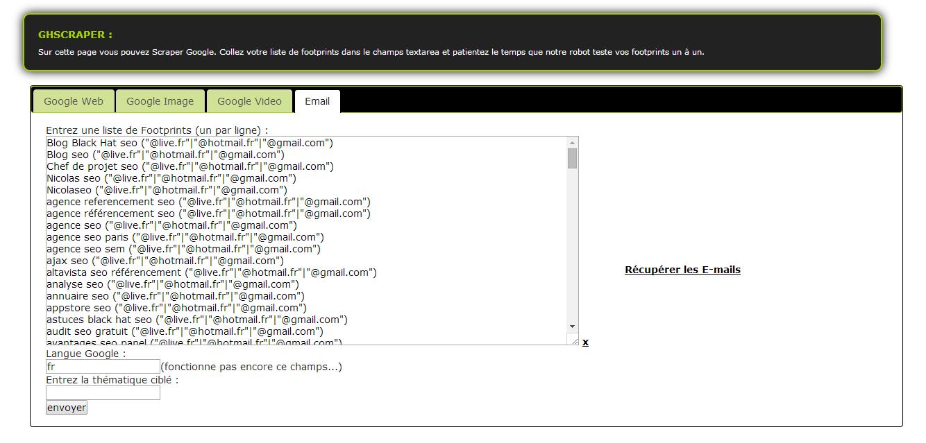 resultat email seo