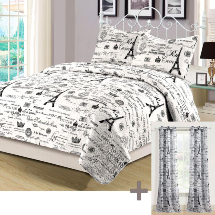 aubrie home accents paris twin quilt set with matching curtains 4 piece eiffel tower black and white