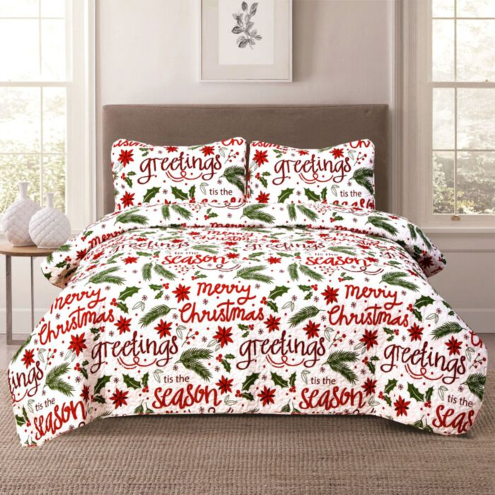 aubrie home accents christmas cheer twin quilt bedding set holiday script winter red green white