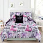 Crest Home Bon Voyage Bedding Queen 5 Piece Comforter Bed Set Paris Eiffel Tower London Greydock Com