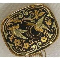 Damascene Gold Bird Rectangle Brooch by Midas of Toledo Spain style 825005