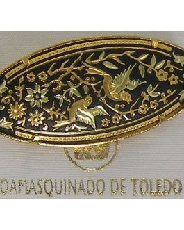 Damascene Gold Bird Oval Brooch by Midas of Toledo Spain style 825010