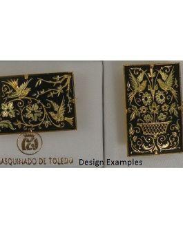 Damascene Gold Bird Rectangle Brooch by Midas of Toledo Spain style 825014