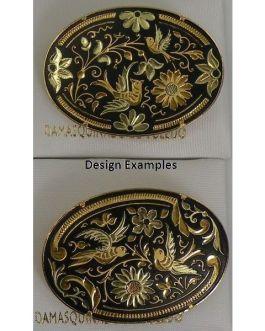 Damascene Gold Bird Oval Brooch by Midas of Toledo Spain style 825015
