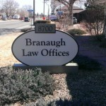 Branaugh Law Offices sign cabinet
