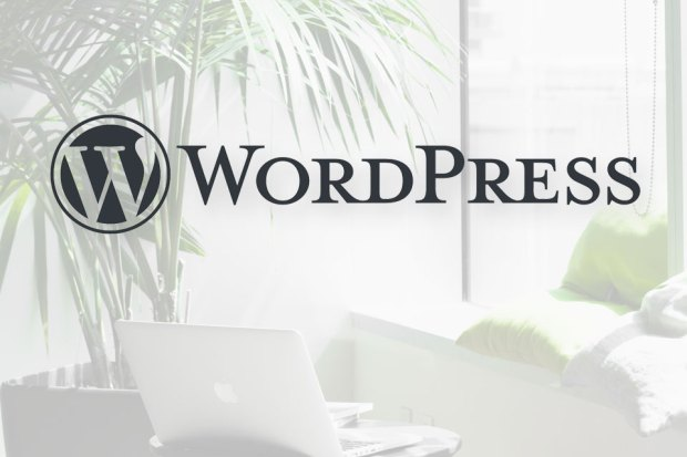 WordPress logo with laptop, window, potted plant, and pillows in the background