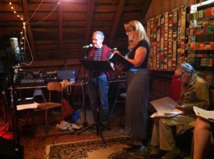 """Red Room Radio Redux players rehearse """"Open Your Ears,"""" which will be performed 7:00 p.m. July 29 at the BarN at 1401 Green River Road, Williamstown; photo by Karl Mullen"""