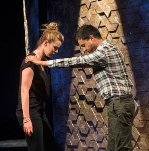 "Betty Gilpin & Debargo Sanyal in ""An Intervention"" at the Williamstown Theatre Festival; photo by Paul Fox"