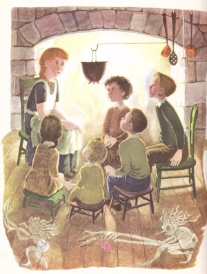 """""""Little Orphant Annie,"""" by James Whitcomb Riley, included in """"The Big Golden Book Of Poetry, 85 Childhood Favorites;"""" edited by Jane Werner, Illustrated by Gertrude Elliott – 1947"""