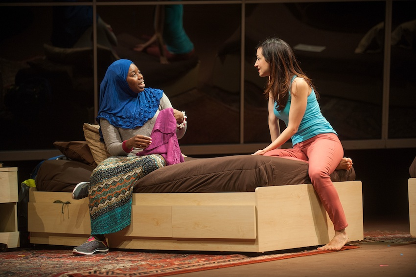 "Donnetta Lavinia Grays and Hend Ayoub in ""Veils"" at Barrington Stage Company now through October 18; photo by Kevin Sprague"