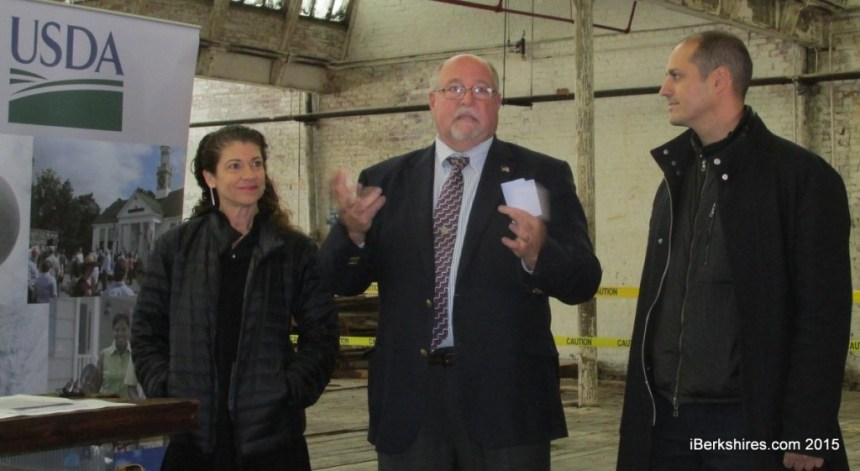 Karla Rothstein and Salvatore Perry, with Mayor Richard Alcombright, center, speak of the next steps in their plans to redevelop the former textile mill; photo courtesy iBerkshires.com