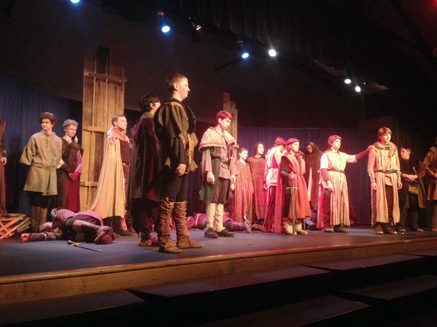 """The cast of William Shakespeare's """"Macbeth,"""" rehearsing for the Fall Festival of Shakespeare performances; photo by Brittney Holland."""