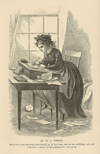 """A variant of the hero's journey take the protagonist on an internal quest. Illustration from """"Little Women,"""" volume II, by Louisa May Alcott; illustration by May Alcott, 1869; via Wikimedia Commons."""