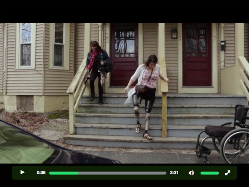 """For eight years, Clara Gardner (right) has been using socket-type prosthetic legs, which have changed surprisingly little in five centuries. Click this image to see the trailer for """"The Next Step,"""" at the film's Kickstarter page , and to find out more about the procedure known as osseointegration that she hopes will return much of her mobility."""