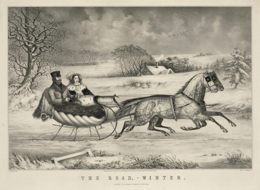The Road—winter, by Currier & Ives; 1853 (Library of Congress)