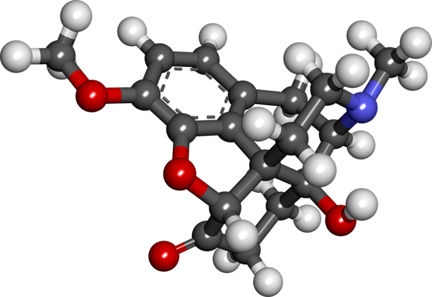 Molecular structure of oxycodone (image, public domain)