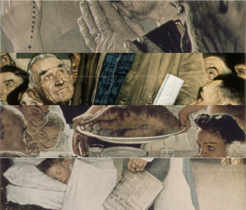 """Slivers of Norman Rockwell's iconic """"Four Freedoms"""" paintings."""