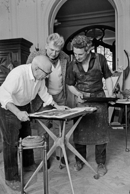 Picasso And Jacques Frélaut, Printer In Vallauris, And Edouard Pignon. La Californie, Cannes, Easter (good Friday) 16.3.1961; image courtesy The Clark Art Institute.