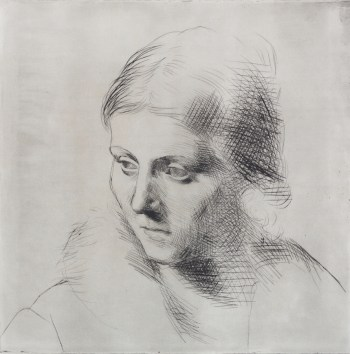 Portrait of Olga in a Fur Collar, 1923 (printed 1955). Drypoint on paper; Estate of Pablo Picasso, image courtesy The Clark Art Institute.