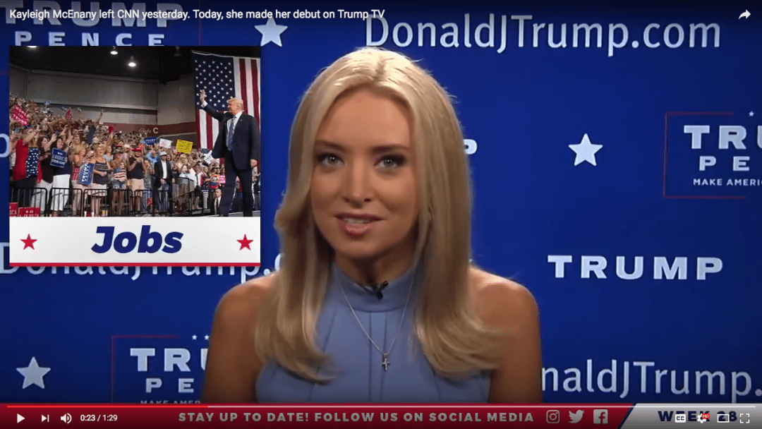 "Kayleigh McEnany, Republican National Committee national spokesperson, debuted August 6 as the host of the web series ""News of the Week, on ""the official Facebook page for Donald J. Trump,"" seemingly unable to decide between a sort of Veronica Lake or Lauren Bacall. The overall effect was pretty solidly Sharon Stone ca. 1992. Image via video capture of Facebook webcast, (possibly) Donald J. Trump for President, Inc."