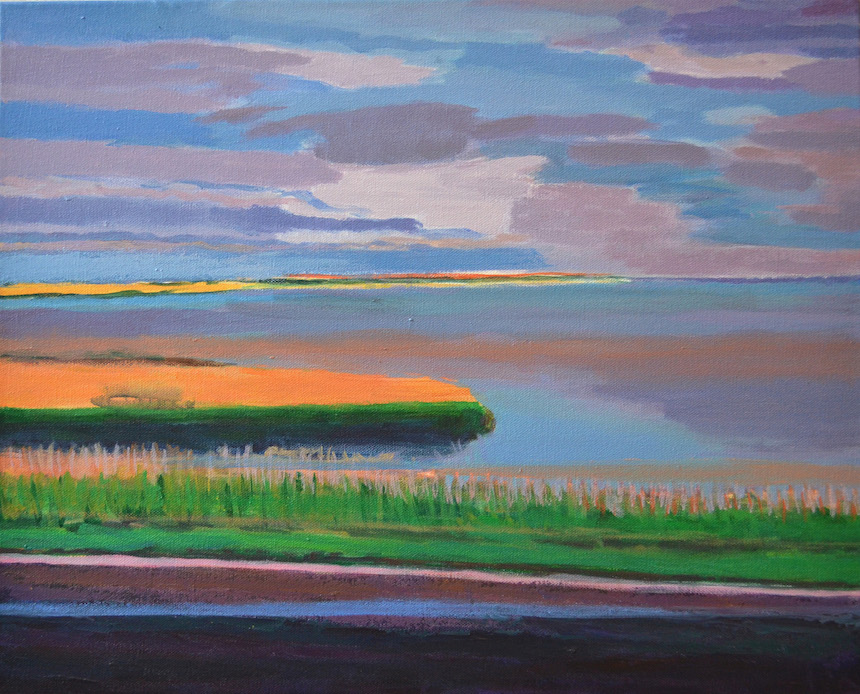 """Orange Marsh,"" by Sarah Sutro; acrylic."