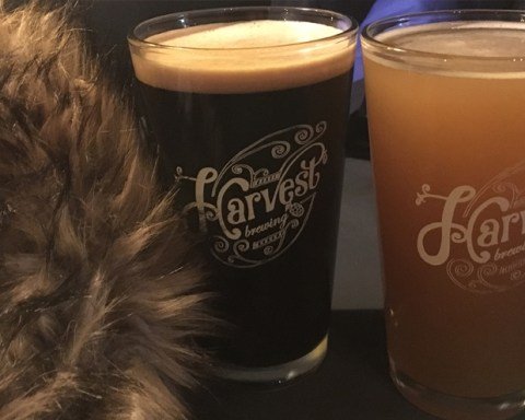 No one would look at you twice if you snuggled up with Harvest Brewing's Smoked Porter (left); photo by The Brewsicologist