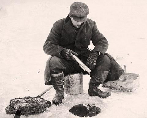 Ice fishing, circa 1910.