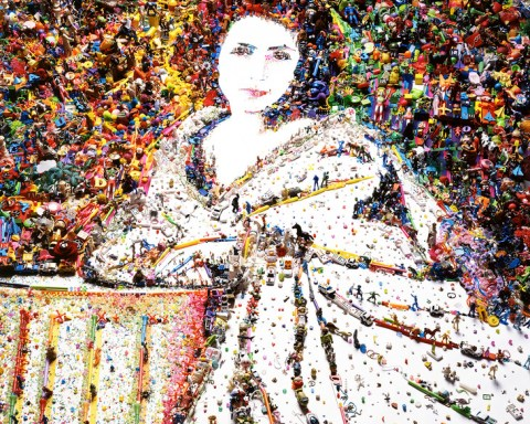 "Vik Muniz, ""Sarah Bernhardt from Rebus,"" 2010, digital C-print. Collection of the Palmer Museum of Art, 2011.25. [Source: Vik Muniz, courtesy of Sikkema Jenkins & Co., New York]."