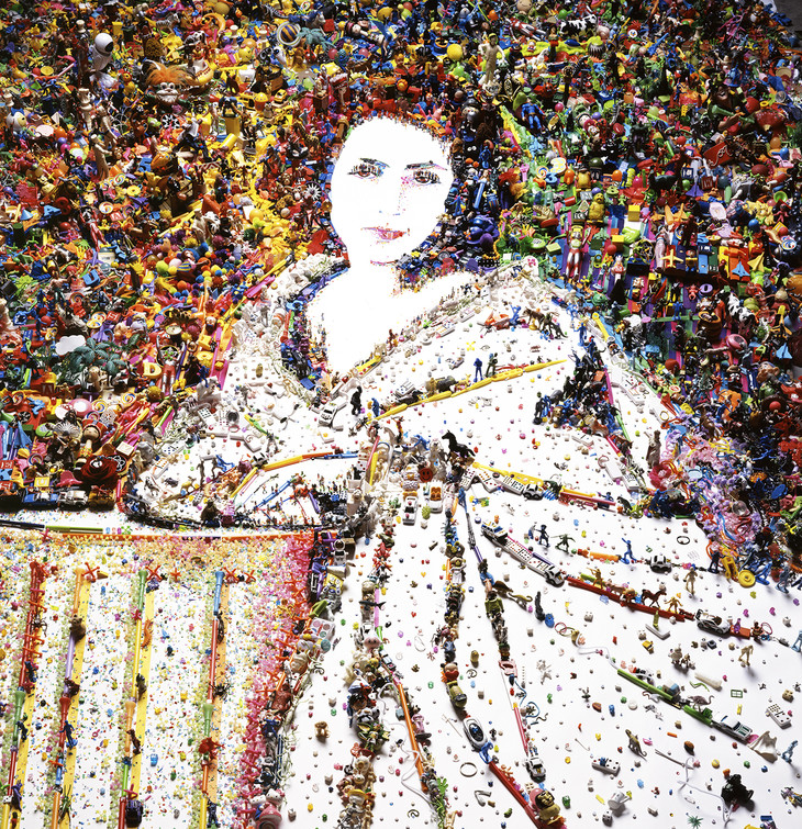 Vik Muniz, Sarah Bernhardt from Rebus, 2010; digital C-print; collection of the Palmer Museum of Art, 2011.25. [Source: Vik Muniz, courtesy of Sikkema Jenkins & Co., New York].