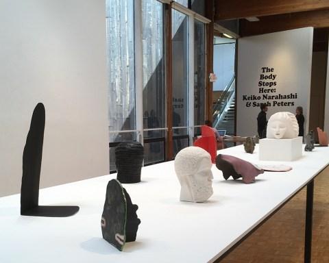 Installation, The Body Stops Here: Keiko Narahashi & Sarah Peters, Usdan Gallery, Bennington College; photo by Sara Farrell Okamura.