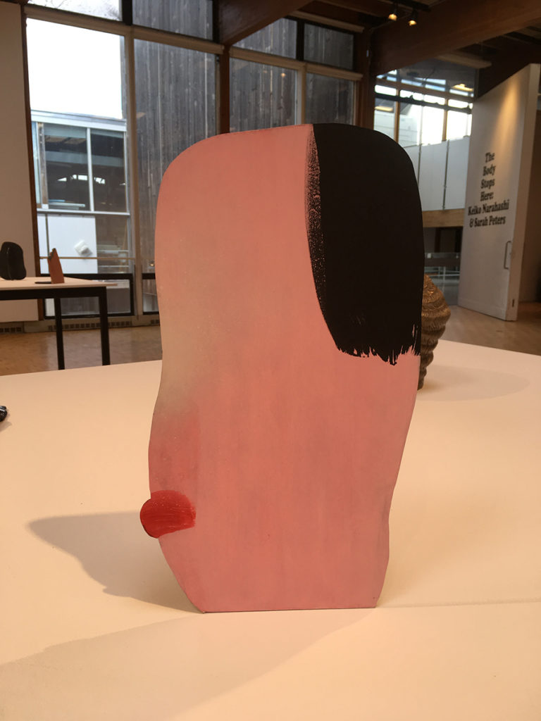 Keiko Narahashi, untitled (Pink Pout), 2017, Flash on aluminum; photo by Sara Farrell Okamura.
