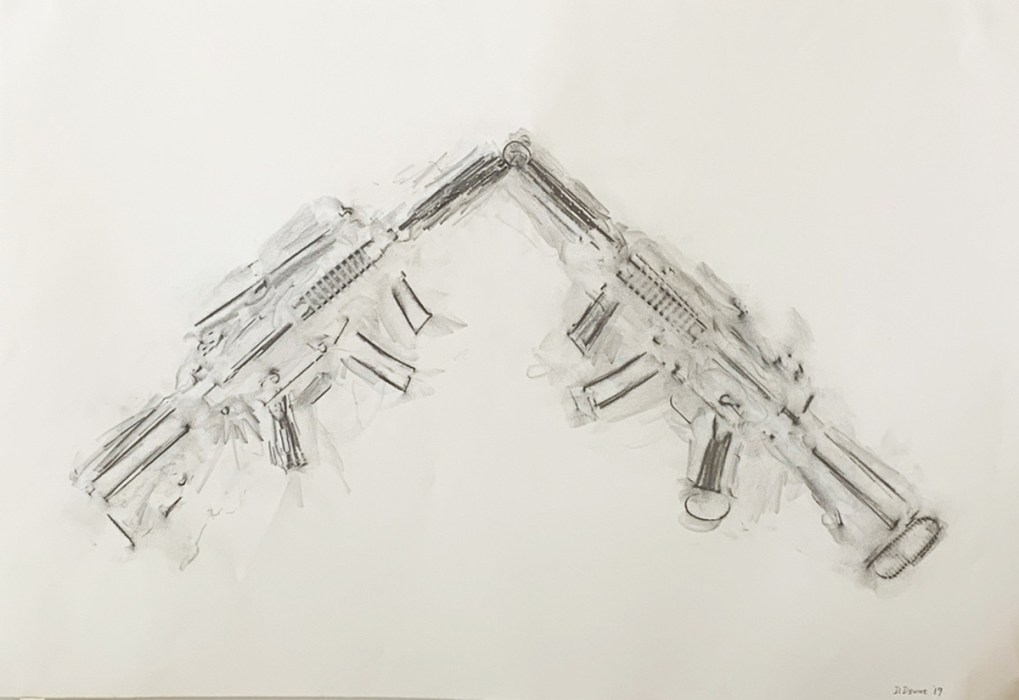 Dan Devine, Toy Assault Rifle, plaster; Thompson Giroux Gallery [source: Thompson Giroux Gallery].