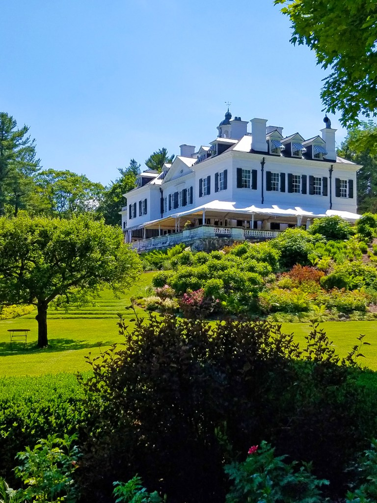 Edith Wharton designed her expansive wrap-around porch to allow for enjoyment of the views and the outdoors in nearly all weather; photo by Robin Catalano.