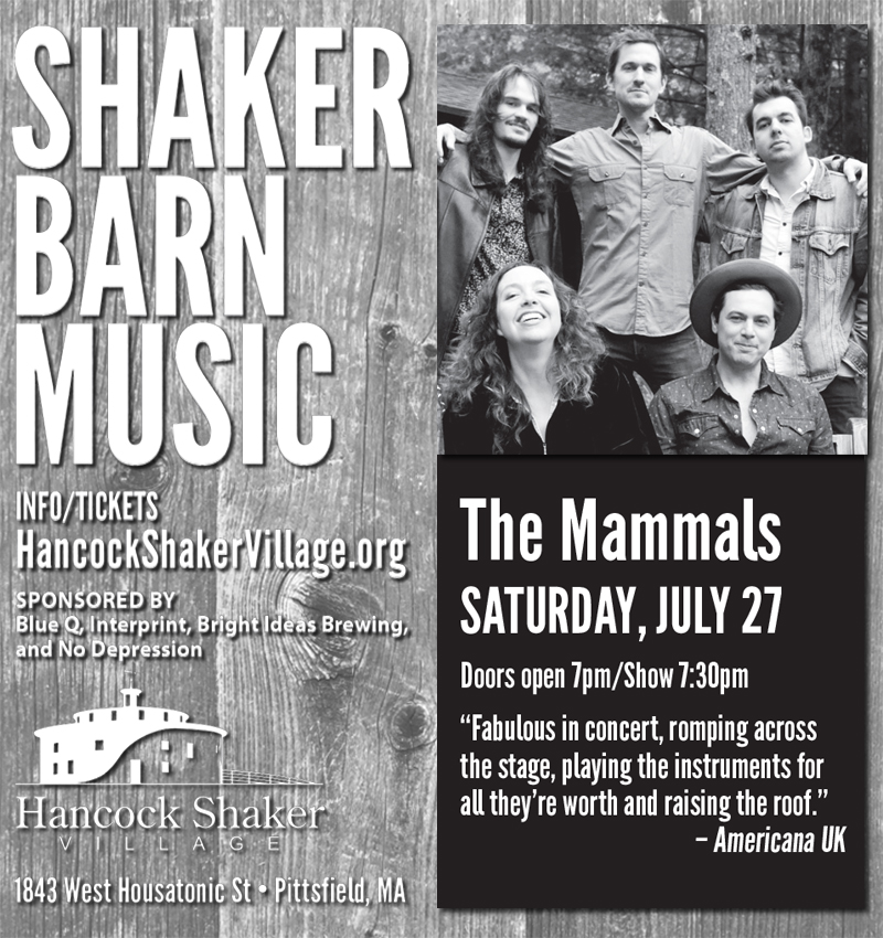 The folk music group, The Mammals, will play the Hancock Shaker Village July 27, 2019