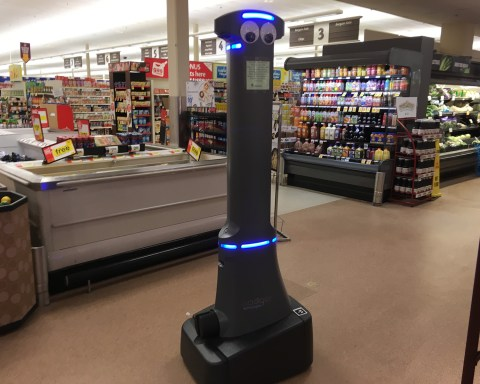 "The reasonably autonomous drone, ""Marty,"" that patrols the aisles at Stop & Shop, and other stores owned by parent company Ahold Delhaize. The anthropomorphized robot's job is, ostensibly, to monitor for spills and safety hazards, as well as to identify items running low in stock; photo by Jason Velázquez."