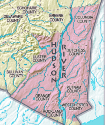 This map shows the location of the Hudson River Valley in Upstate New York.