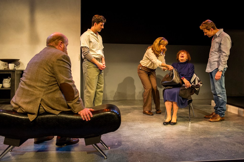 "Photo of a scene from ""The Waverly Gallery"" (Left to Right) Michael F. Toomey, David Bertoldi, Elizabeth Aspenlieder, Annette Miller, and David Gow; photo by Daniel Rader."